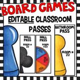 EDITABLE Classroom Passes - Board Games Class Decor