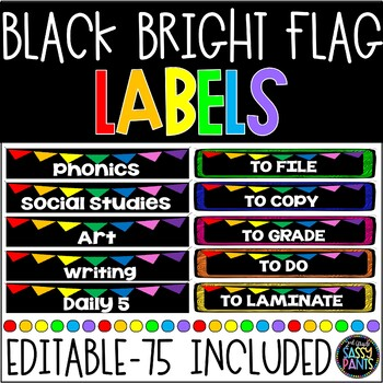 Target Adhesive Pocket Labels | Rectangle Labels | Black and Bright | Editable