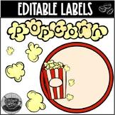 EDITABLE Classroom Popcorn Labels