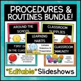 EDITABLE Classroom Procedures Back to School Powerpoints BUNDLE