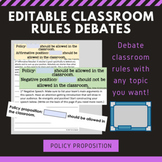 EDITABLE Classroom Rules Debate Activity