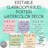EDITABLE-Classroom Rules Posters-Watercolor Decor