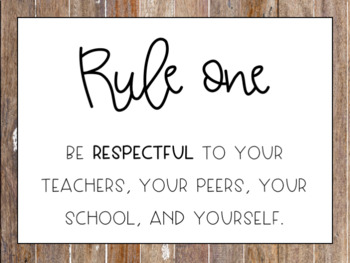 EDITABLE Classroom Rules- Rustic Theme