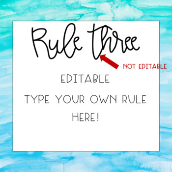 EDITABLE Classroom Rules- Watercolor Theme