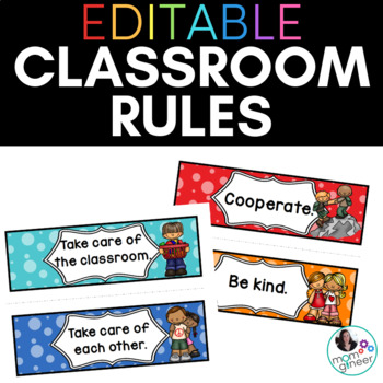 Classroom Rules in Bold Dots EDITABLE