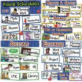 EDITABLE Classroom Schedule and Jobs with Visual Supports: K-3rd BUNDLE
