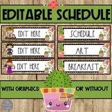 EDITABLE Classroom Schedule: Alpacas and Succulents Theme
