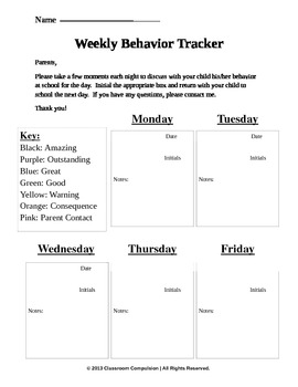EDITABLE Clip Chart Weekly Behavior Tracker Freebie by Classroom ...