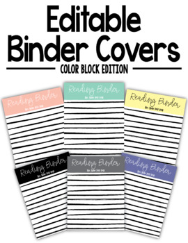 EDITABLE Color Block Stripe Binder Covers