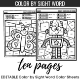 EDITABLE Color By Sight Word Color Sheets