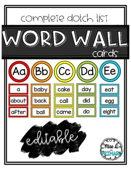 EDITABLE Color-Coded Word Wall