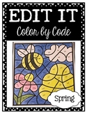 EDITABLE Color by Code: Spring