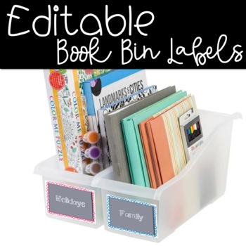 EDITABLE** Colorful Book Bin Labels