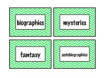 {EDITABLE} Colorful Chevron Classroom Library Labels