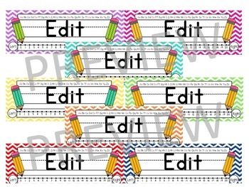 EDITABLE Colorful Chevron Nameplates / Deskplates / Nametags