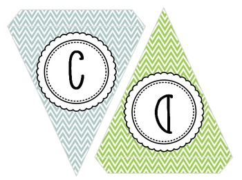 EDITABLE! Colorful Chevron Pennants - with or without text!