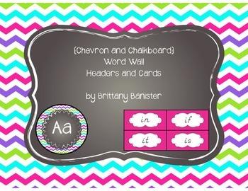 EDITABLE Colorful Chevron Word Wall Headers and Sight Word Cards D'Nealian