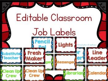EDITABLE Colorful Classroom Job Labels