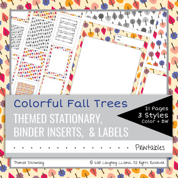 EDITABLE Colorful Fall Trees Stationary Labels Binder Inserts Blank Worksheets