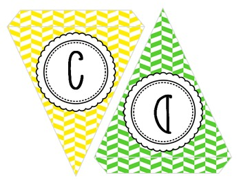 EDITABLE! Colorful Herringbone Pennants - with or without text!