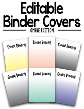 EDITABLE Colorful Ombre Binder Covers