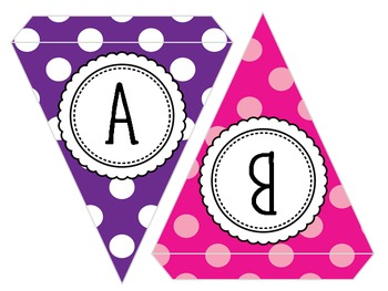 EDITABLE! Colorful Polka Dot Pennants - with or without text!