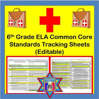 Tracking Sheets (EDITABLE) Common Core 6th Grade ELA by Do