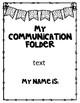 EDITABLE Communication Folder