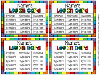 EDITABLE Computer Log In Cards