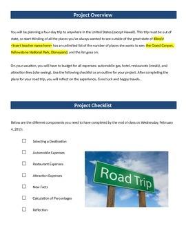 EDITABLE! Consumer Math - Plan a Road Trip