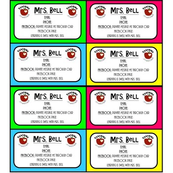 EDITABLE Contact Cards *Give to Families at Meet the Teacher Night*