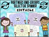 EDITABLE -Cute, ready to print Partners & Groups selector wheel!