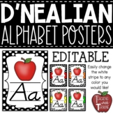 EDITABLE D'Nealian-like Alphabet Posters {Black and White