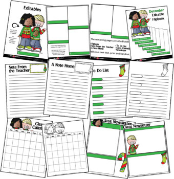 EDITABLE DECEMBER -FLIP BOOKS - MONTHLY NEWSLETTERS - CALENDARS - TO-DO-LISTS