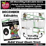 EDITABLE DECEMBER -FLIP BOOKS - MONTHLY NEWSLETTERS - CALE