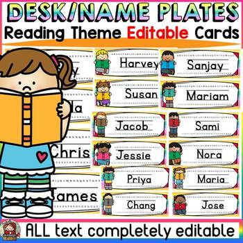 EDITABLE DESK/NAME PLATES: READING THEME