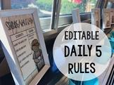 EDITABLE Daily 5 Choices: Rules