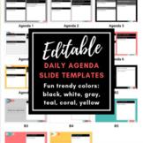EDITABLE Daily Agenda Slide Templates #1