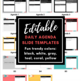 EDITABLE Daily Agenda Slide Templates #1