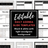 EDITABLE Daily Agenda Template: Black and White Dots w/ Wood Background