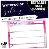 EDITABLE Daily Planner { Watercolor Space Galaxy }