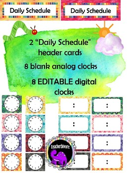 EDITABLE Daily Schedule Cards - Eric Carle Inspired Theme