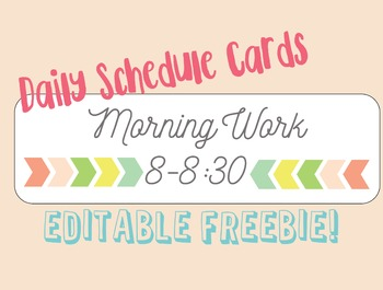 EDITABLE Daily Schedule Cards Freebie