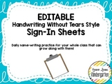 EDITABLE Daily Sign-In Sheets Handwriting Without Tears St