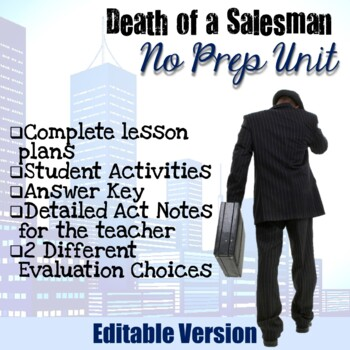EDITABLE - Death of a Salesman Unit (Complete No Prep)