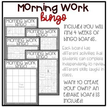 EDITABLE December Morning Work Bingo