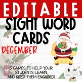 EDITABLE December sight word cards for games and Write the