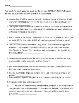 EDITABLE Decimal Word Problems Worksheet