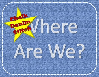 "EDITABLE Denim Stitched ""Where Are We?"" Signs"