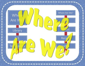 """EDITABLE Denim Stitched """"Where Are We?"""" Signs"""